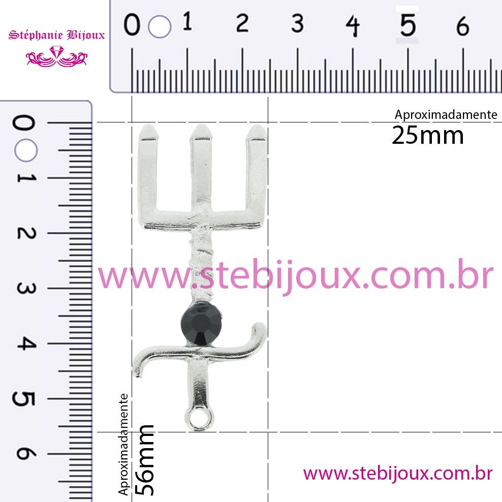Tridente - Níquel com Strass Preto - 56mm  - Stéphanie Bijoux® - Peças para Bijuterias e Artesanato