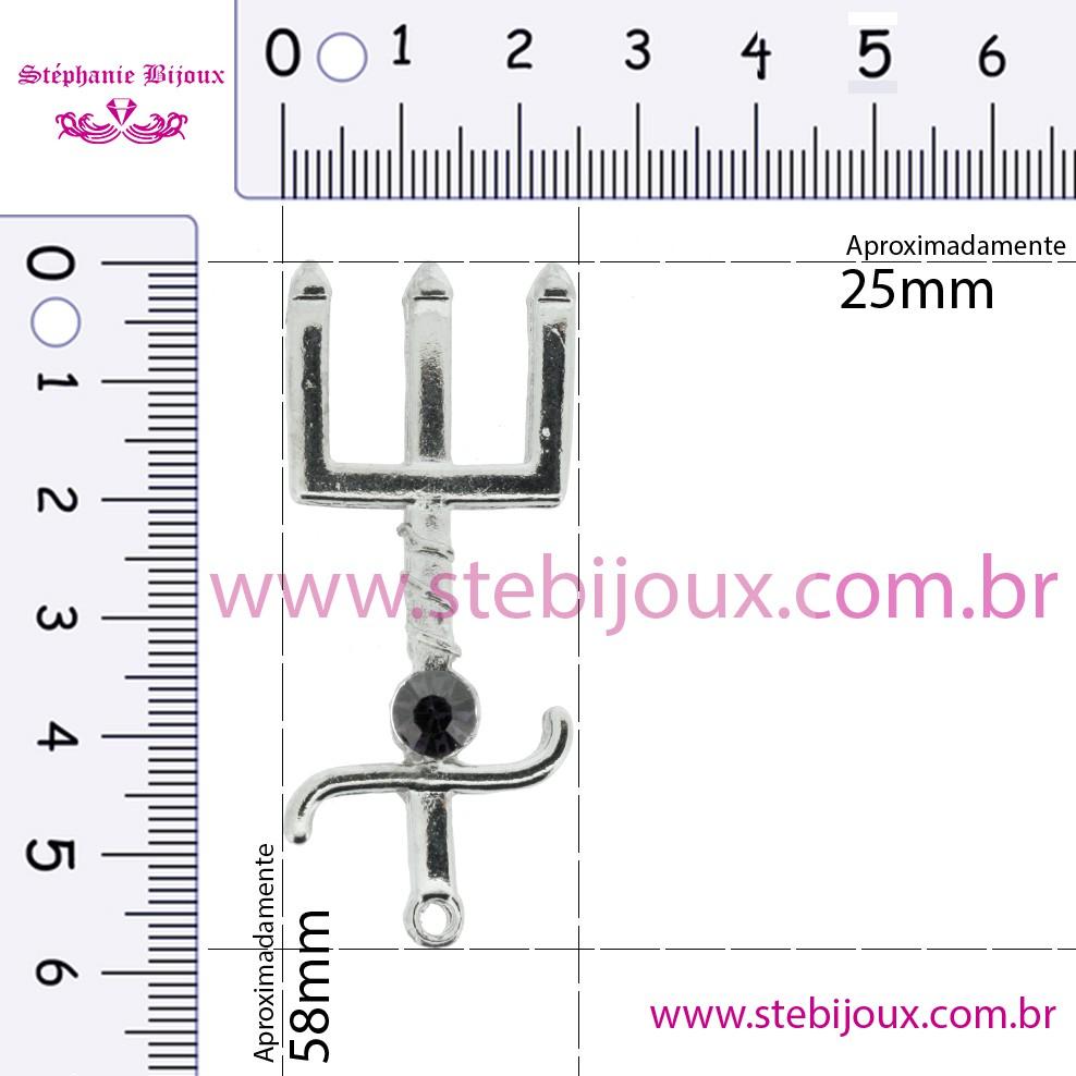 Tridente - Níquel com Strass Preto - 58mm  - Stéphanie Bijoux® - Peças para Bijuterias e Artesanato