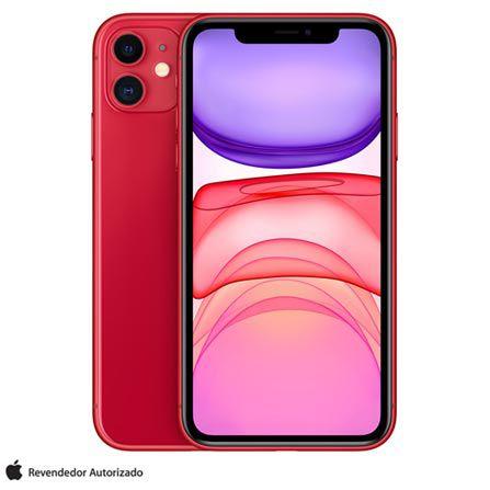 """iPhone 11 Vermelho Tela de 6,1"""" 4G 128GB Câmera 12 MP"""