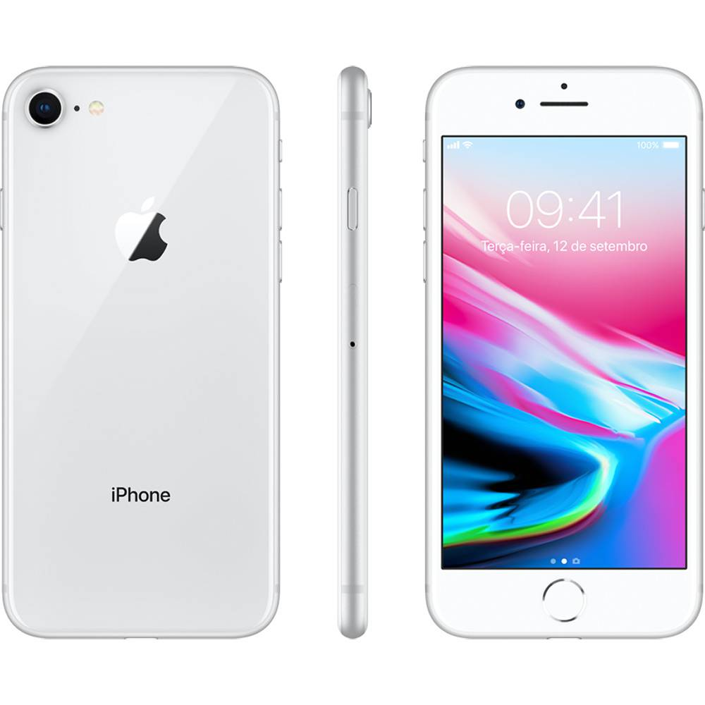 Iphone 8 Apple 256GB IOS 11 Prata de 4.7