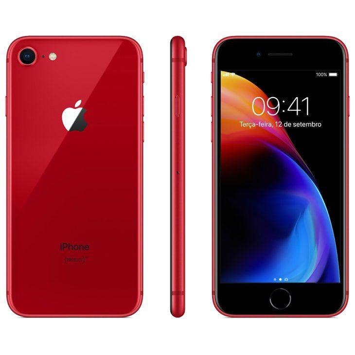 Iphone 8 Apple 256GB IOS 11 Vermelho Modelo A1905 Tela de 4.7