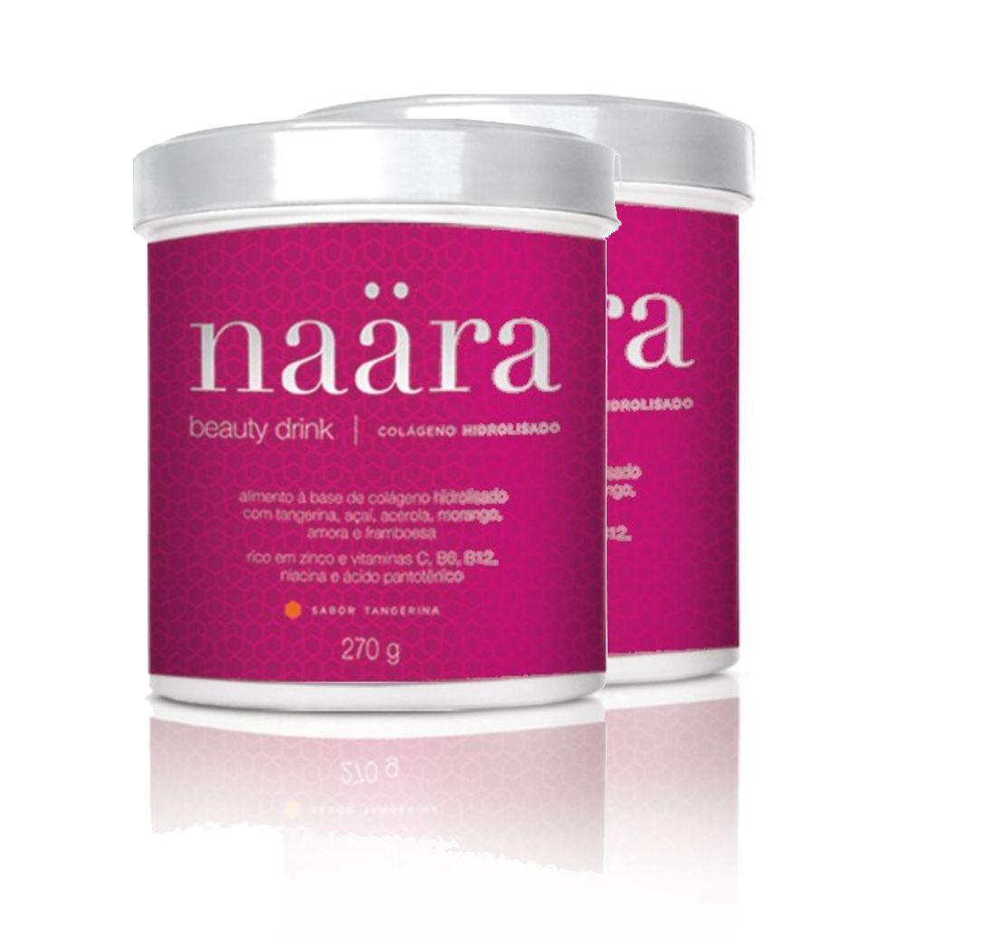 Kit 2 Suplemento Vitamínico Naära Beauty Drink Colágeno Tangerina 270g