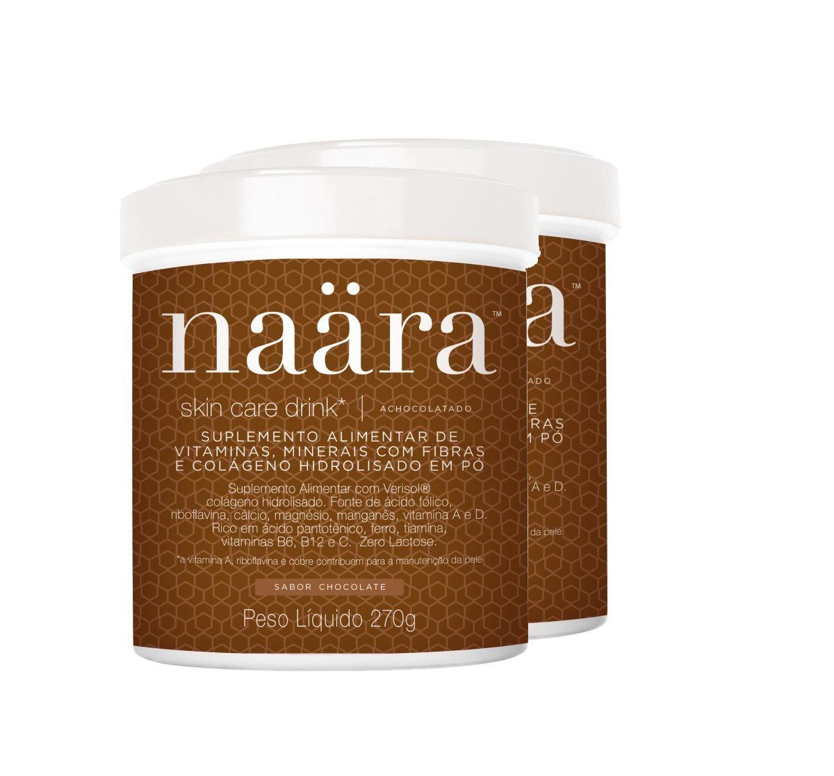 Kit 2 Suplemento Vitamínico Naära Skin Care Drink  VERISOL Chocolate 270g