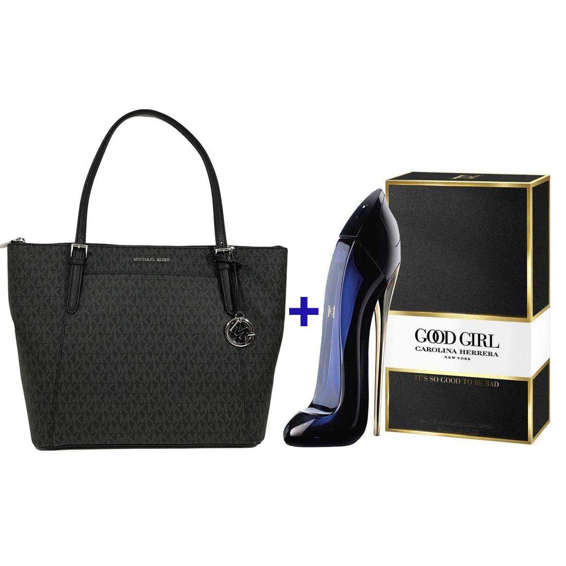 7ed240fbcd081 Kit Bolsa Michael Kors Ciara Tote Signature + Perfume Good Girl Carolina  Herrera 80ml