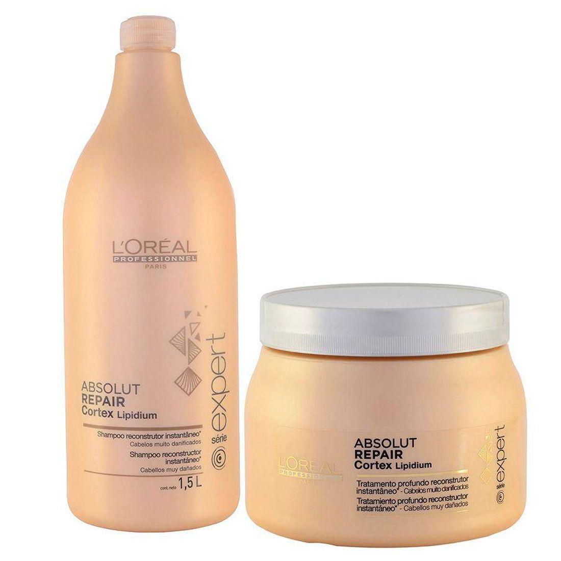 8ea6f6221 Kit Loreal Absolut Repair Cortex Shampoo 1,5l + Máscara 500g