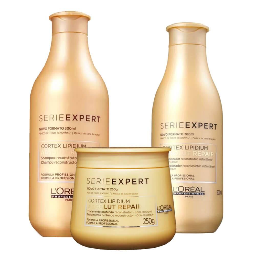 Kit Loreal Absolut Repair Shampoo 300ml + Condicionador 200ml  +  Mascara 250g