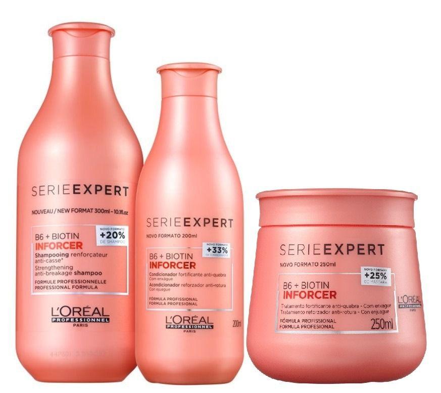 Kit Loreal Inforcer Shampoo 300ml + Condicionador 200ml + Máscara 250ml