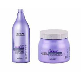 Kit de Tratamento Capilar Loreal Professionnel Liss Unlimited Shampoo 1,5L + Máscara 500g