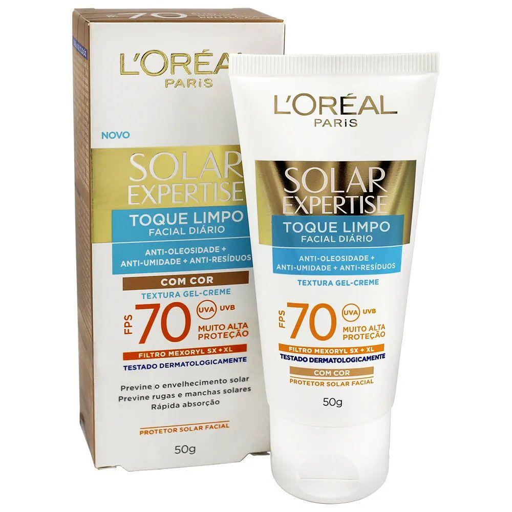 Protetor Solar L'Oréal Expertise Toque Limpo FPS70 Com Cor 50g