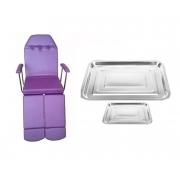 Cadeira de Podologia Roxa Mecânica Ajuste na Biperna Com Prolongador Brindes