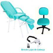 Kit Básico Cadeira Podologia Mecânica Mocho Luxo Brinde Lupa de Cabeça