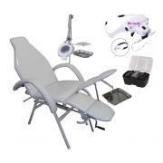 Kit Cadeira De Podologia Mecânica Com Luminária Exaustor, Bandeja Inox Brinde