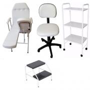 Kit Cadeira Mecânica Mocho a Gás Carrinho 03 Tampos Escada
