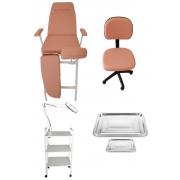 Kit Cadeira Para Podologia Rose Gold E Brindes