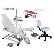 Kit Cadeira Para Podologia Semi Elétrica Com Bandejas Exaustor e Mocho Brinde Lixa Elétrica