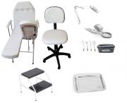 Kit Cadeira Podologia Mocho Exaustor com Luminária Escada Alta Frequência HTM Brinde