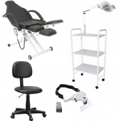 Kit Cadeira Podologia Semi-elétrica Lux Mocho Exaustor com Luminária Brinde