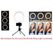 Kit Estética Micropigmentação Preto Maca, Lupa, Carrinho, Escada e Mocho Brinde Luminária Ring Light