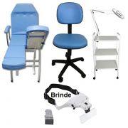 Kit Para Podologia Azul Cadeira Luminária com Exaustor Carrinho Mocho Brinde