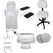 Kit Para Podologia Cadeira, Luminária com Exaustor, Escada, Carrinho e Mocho Brindes Bandejas