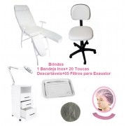 Kit Podologia Cadeira Mocho Luminária com Exaustor Armário Brinde