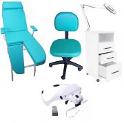 Kit Podologia Cadeira Mocho Luminária com Exaustor Armário Brinde Lupa