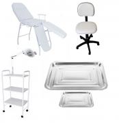 Kit Podologia Cadeira Mocho Luminária com Exaustor Carrinho Brinde
