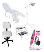 Kit Podologia Cadeira Mocho Luminária com Exaustor Tripé Brinde Lixa Elétrica