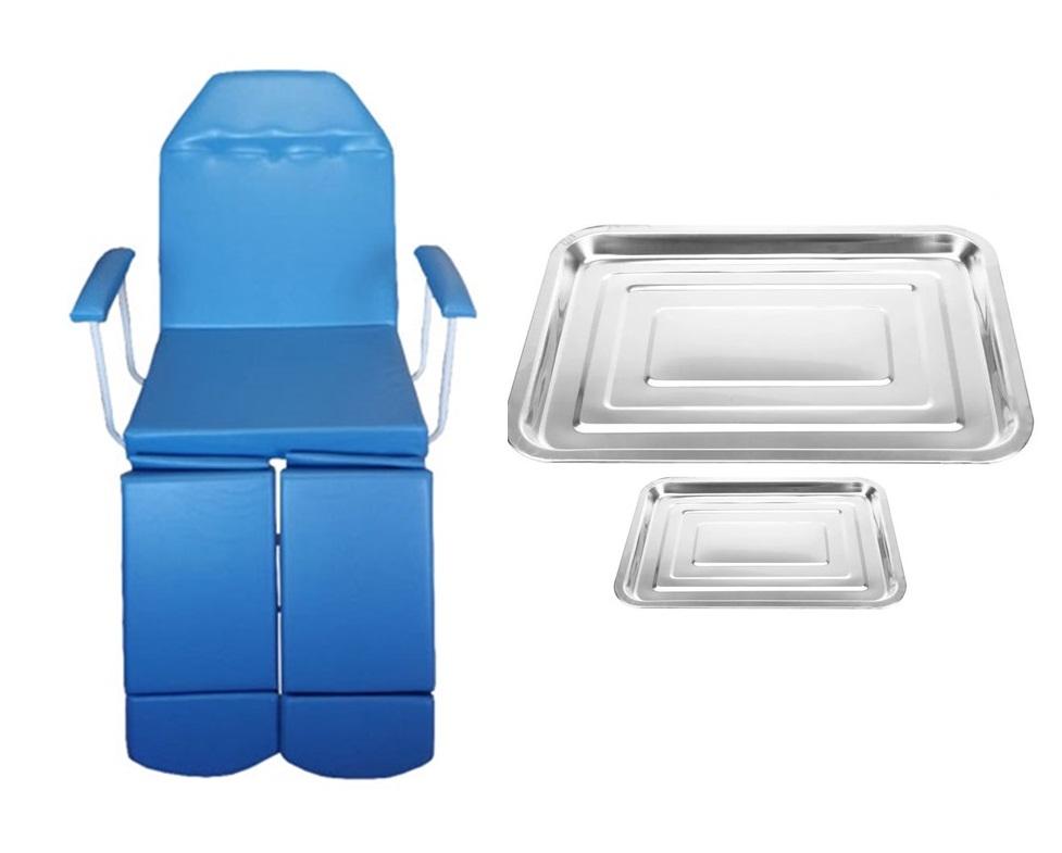 Cadeira De Podologia Azul Com Prolongador De Perna