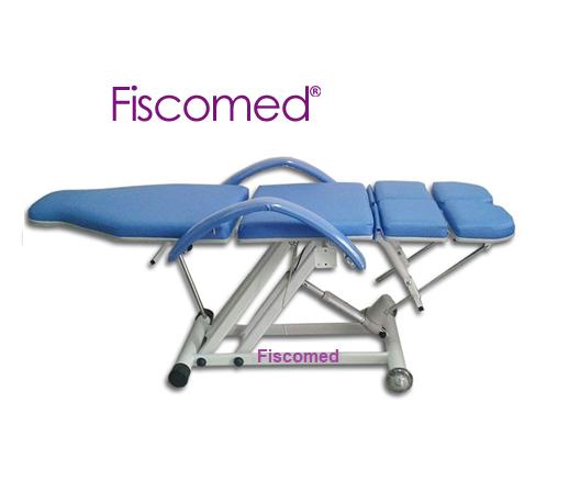 Cadeira de Podologia Azul  Semi-Elétrica na Elevação com Bandejas