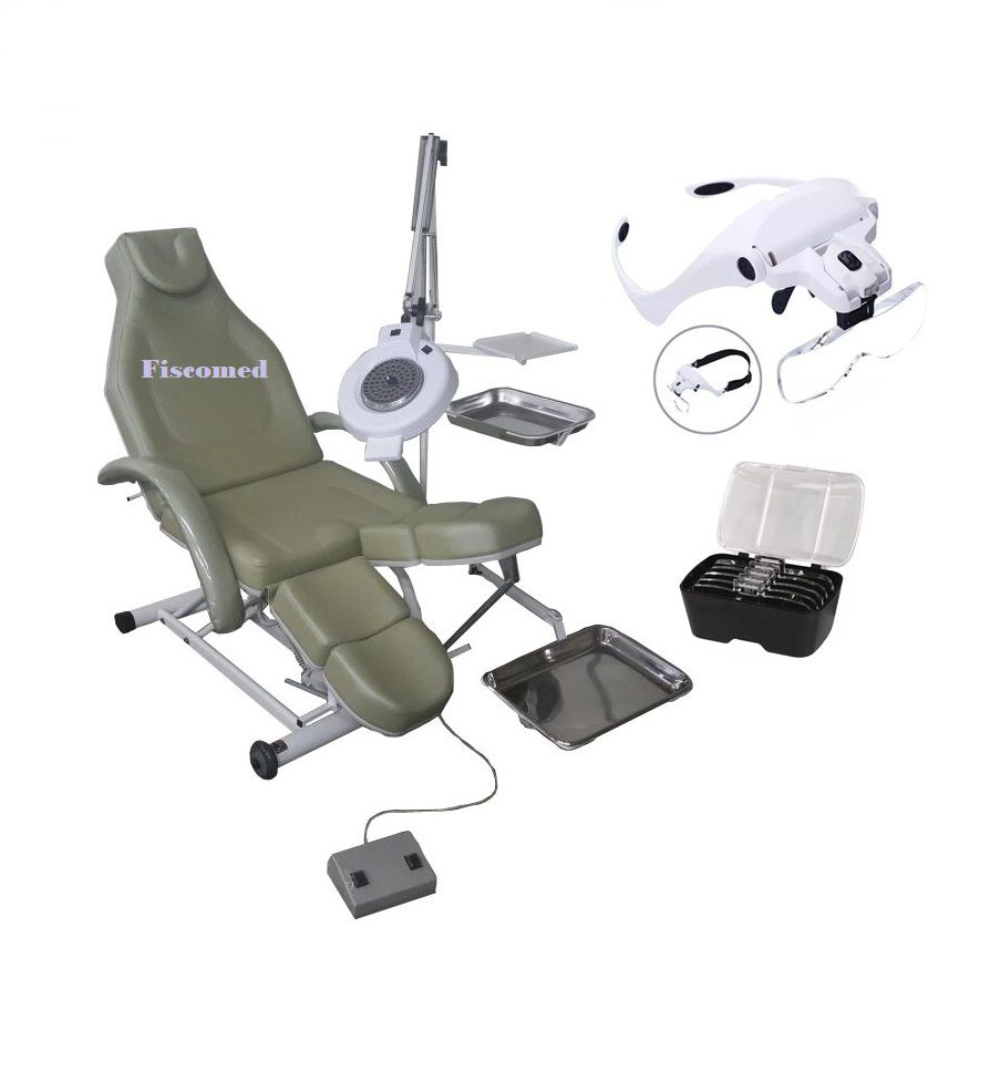 Cadeira de Podologia Elevação e Dorso Elétrica Com Bandejas e Exaustor Fiscomed