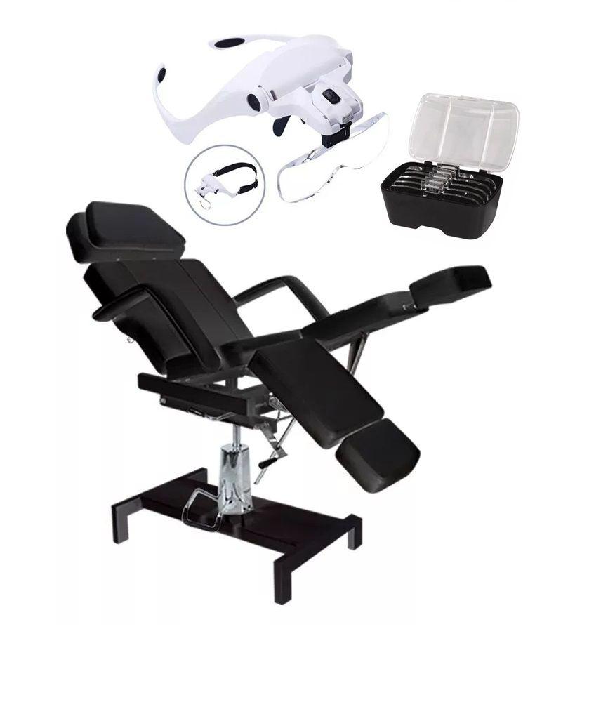 Cadeira Luxo Preta Hidráulica Para Estética Tatuador e Micropigmentação E Brinde