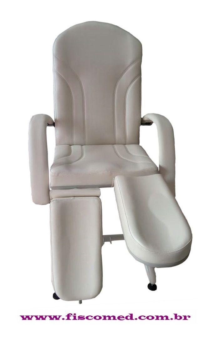 Cadeira Mecânica Requinte Branca Para Podologia