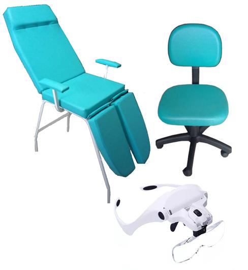 Kit Básico Cadeira Mecânica Verde Mocho à Gás Brinde Lupa