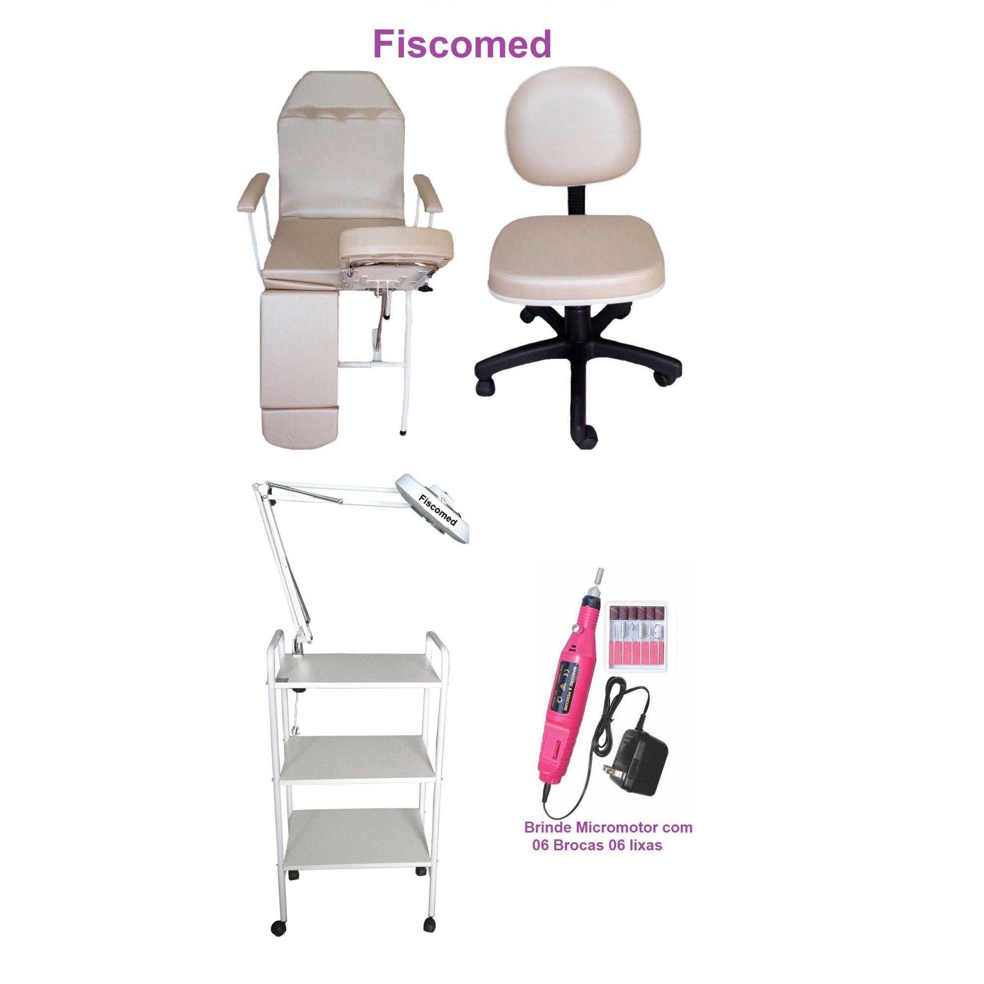 Kit Bege Para Podologia Cadeira Luminária Com Exaustor Carrinho Mocho e Brinde Micro Motor