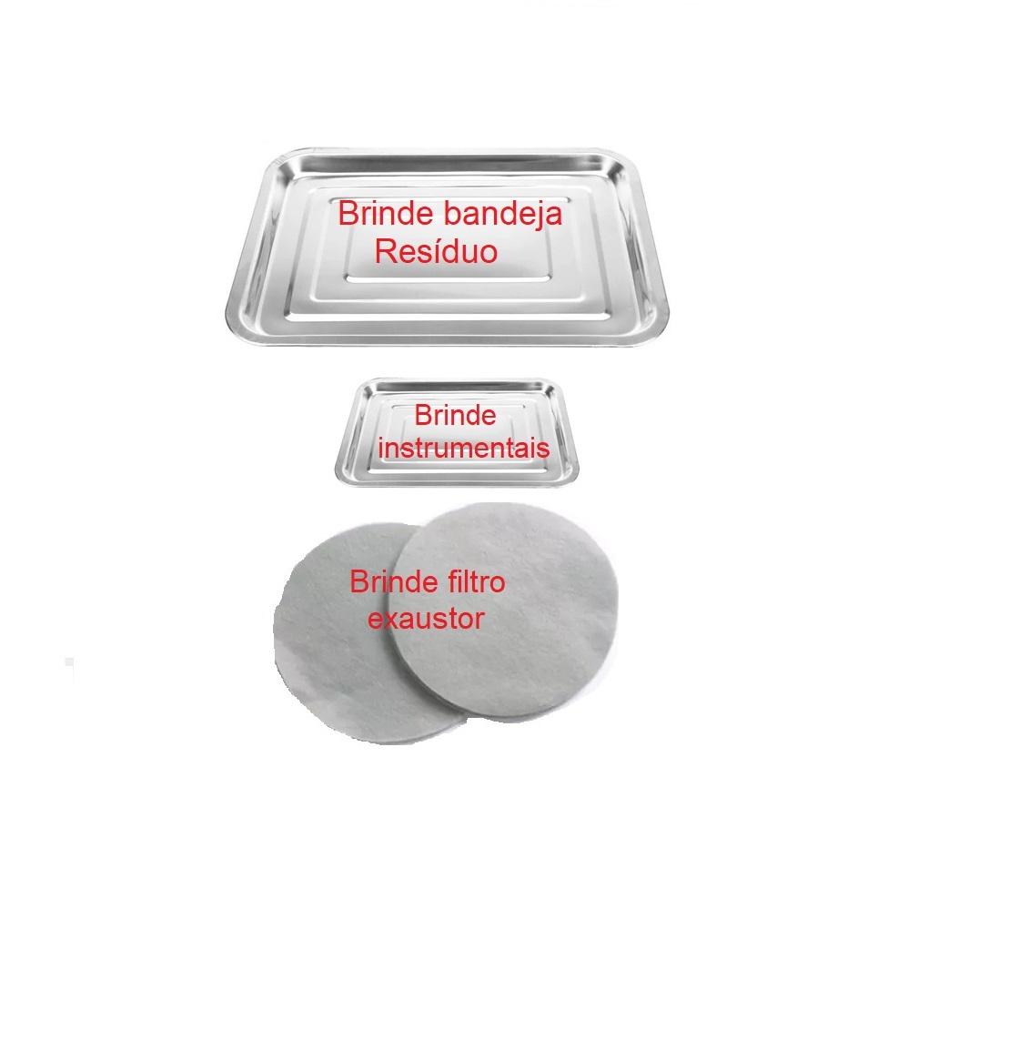 Kit Bege Para Podologia Cadeira Luminária Com Exaustor Carrinho Mocho Brindes