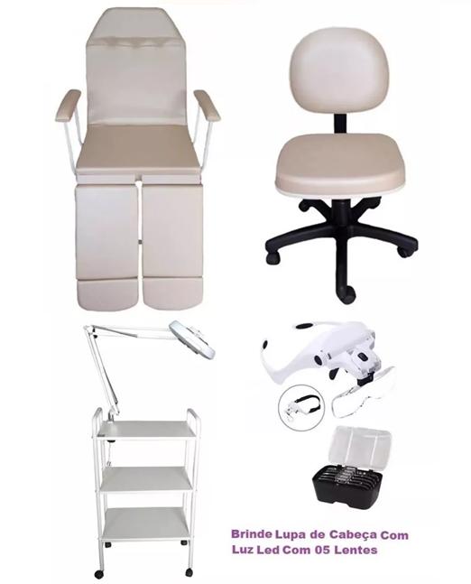 Kit Bege Para Podologia Cadeira Luminária Com Exaustor Carrinho Mocho e Brinde Lupa Led