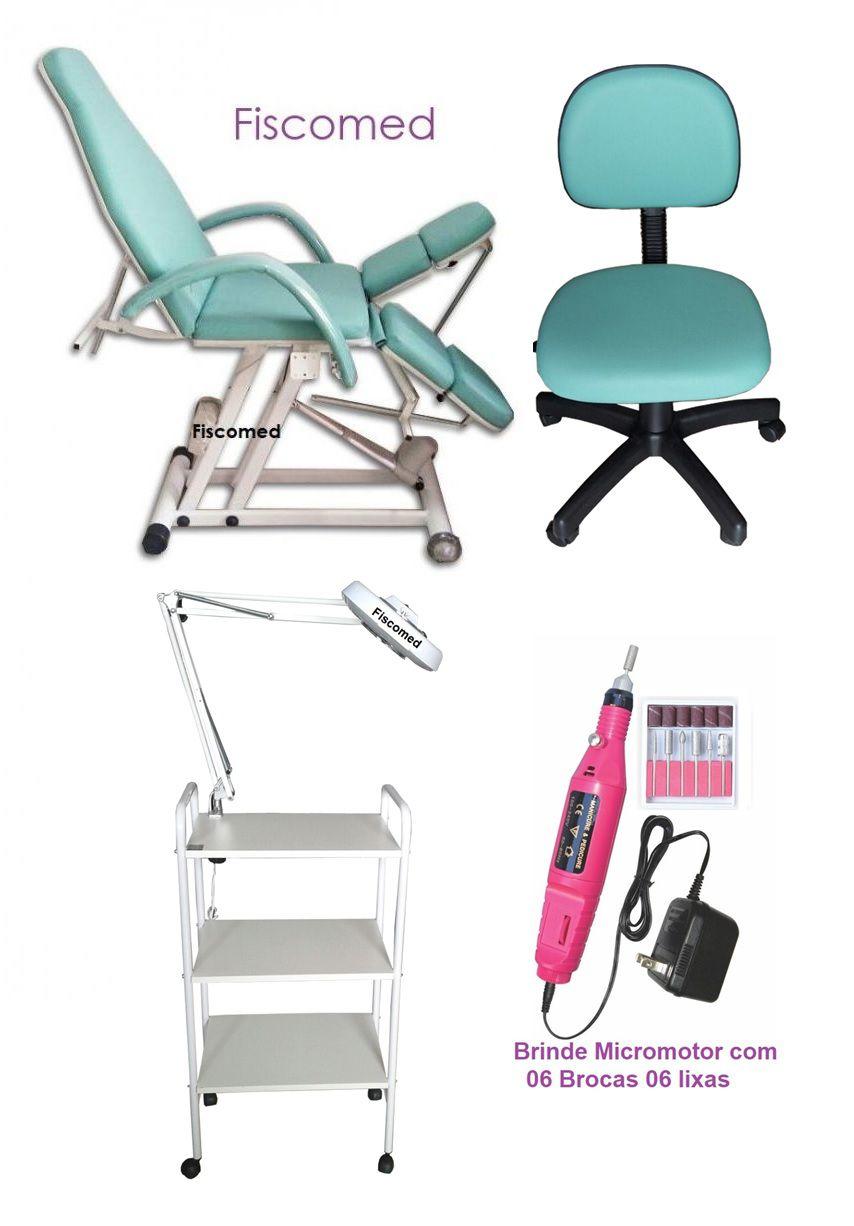 Kit Cadeira de Podologia Verde Mocho, Carrinho e Luminária Com Exaustor Brinde