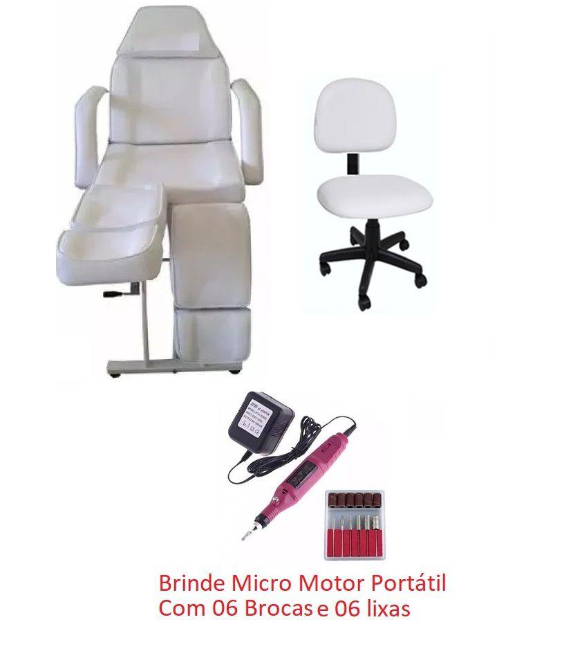 Kit Cadeira Fixa Podologia e Mocho à Gás e Brinde Motorzinho Fiscomed