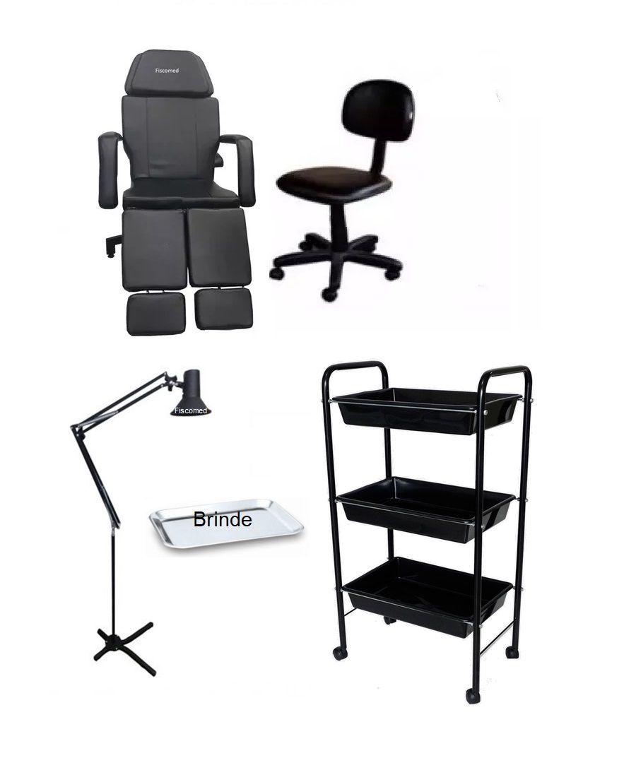 Kit Cadeira Luxo Black Hidráulica Mocho Carrinho foco de Luz Bandeja Brinde