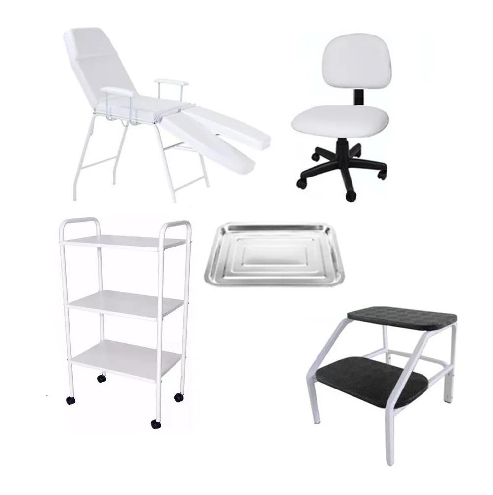 Kit Cadeira Para Podologia Carrinho, Mocho, Escada Brinde Fiscomed