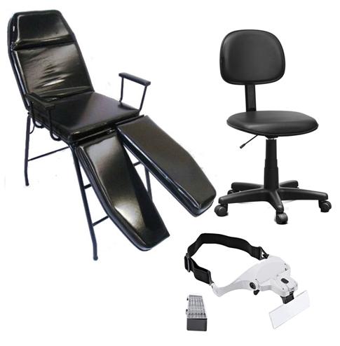 Kit Cadeira Podologia e Tatuador Mocho à Gás Brinde Lupa