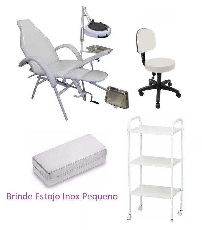 Kit Cadeira Podologia Mecânica com Luminária Exaustor, Bandeja Inox e Mocho Brinde Estojo