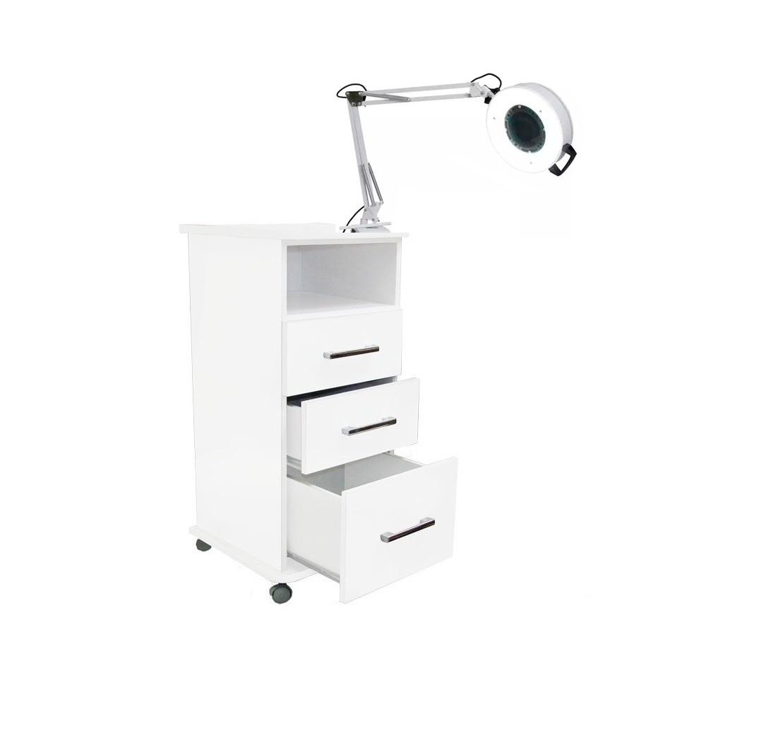 Kit Cadeira Podologia Mecânica Mocho Armário 3 Gavetas Luminária com Exaustor Brinde Bandejas