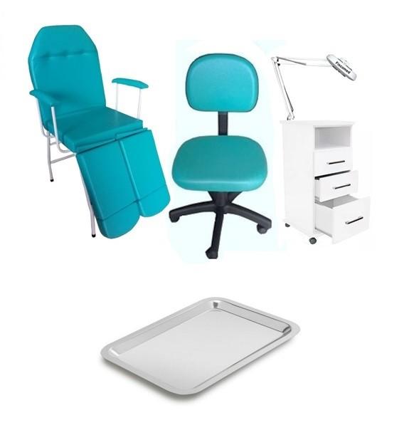 Kit Cadeira Podologia  Mocho Armário 3 Gavetas Luminária com Exaustor Brinde
