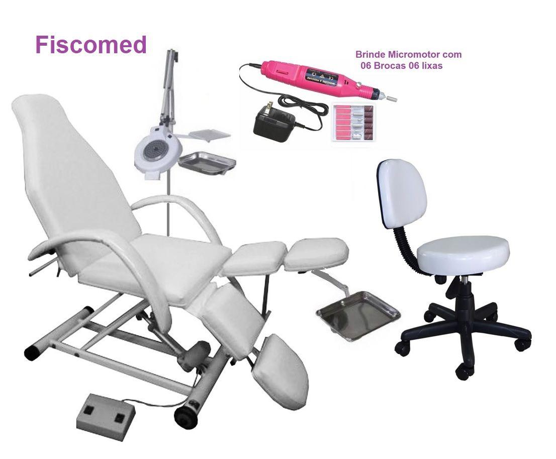 Kit Cadeira Podologia Semi Elétrica Com Bandejas Exaustor de Led  Mocho Brinde Micromotor