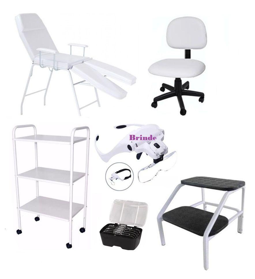 Kit Cadeira Para Podologia Carrinho, Mocho, Escada Brinde Lupa Fiscomed