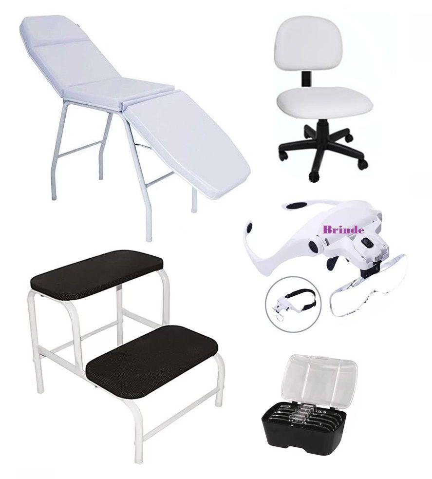 Kit Estética Poltrona Cadeira Mocho Escadinha E Brinde