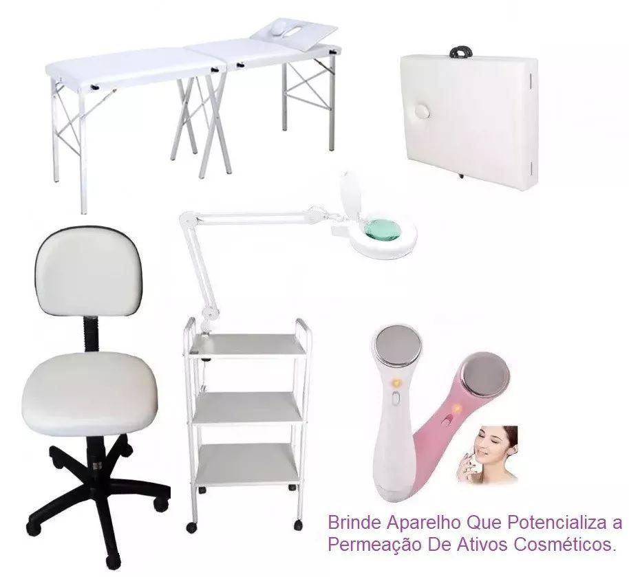 Kit Estética Maca Portátil Cabeçote Móvel, Carrinho, Lupa com Luminária, Mocho Brinde Aparelho Derma Spa Micro
