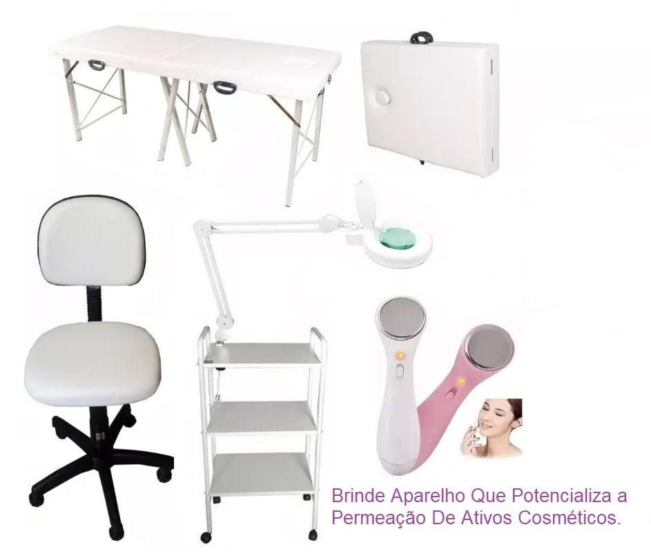 Kit Estética Maca Portátil, Carrinho, Lupa com Luminária, Mocho Brinde Aparelho Derma Spa Micro